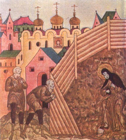 Работа преподобного Сергия в огороде.