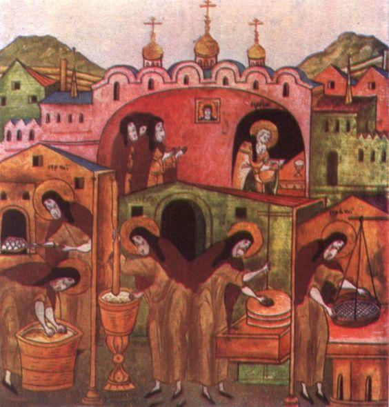 Преподобный Сергий выпекает хлеб для братии.