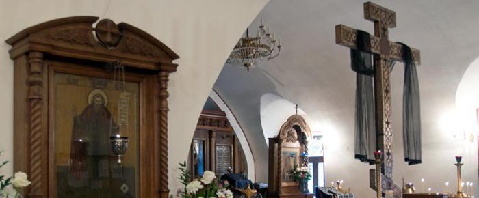 Интерьер храма преподобного Сергия в Крапивниках.